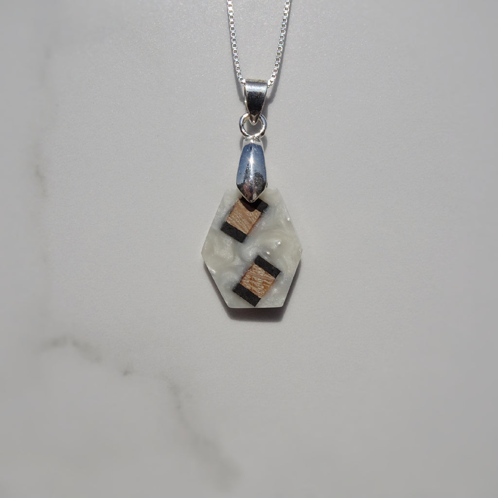 Oak, Ebony, and White Pearl Acrylic Resin Pendant - One of a Kind - Art and Soule