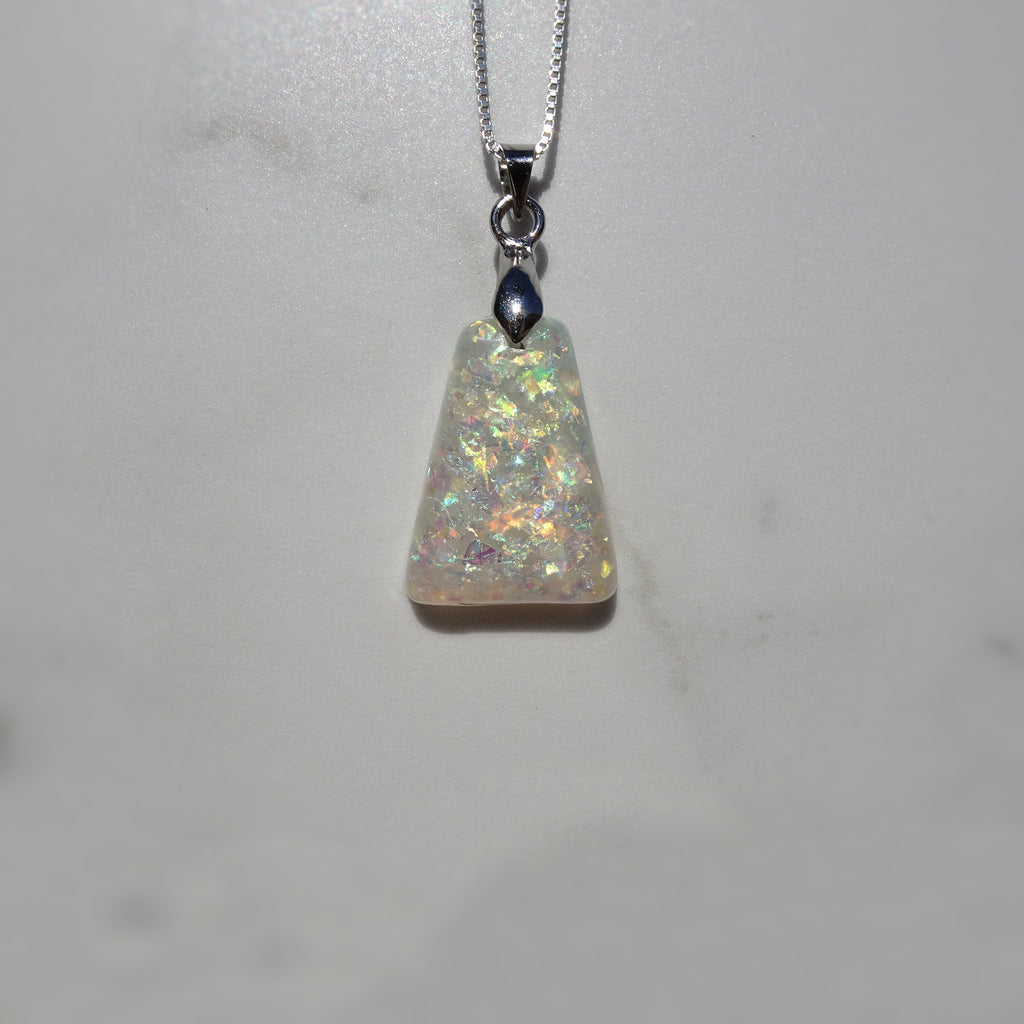 White Holographic Glitter Acrylic Resin Pendant - One of a Kind - Art and Soule