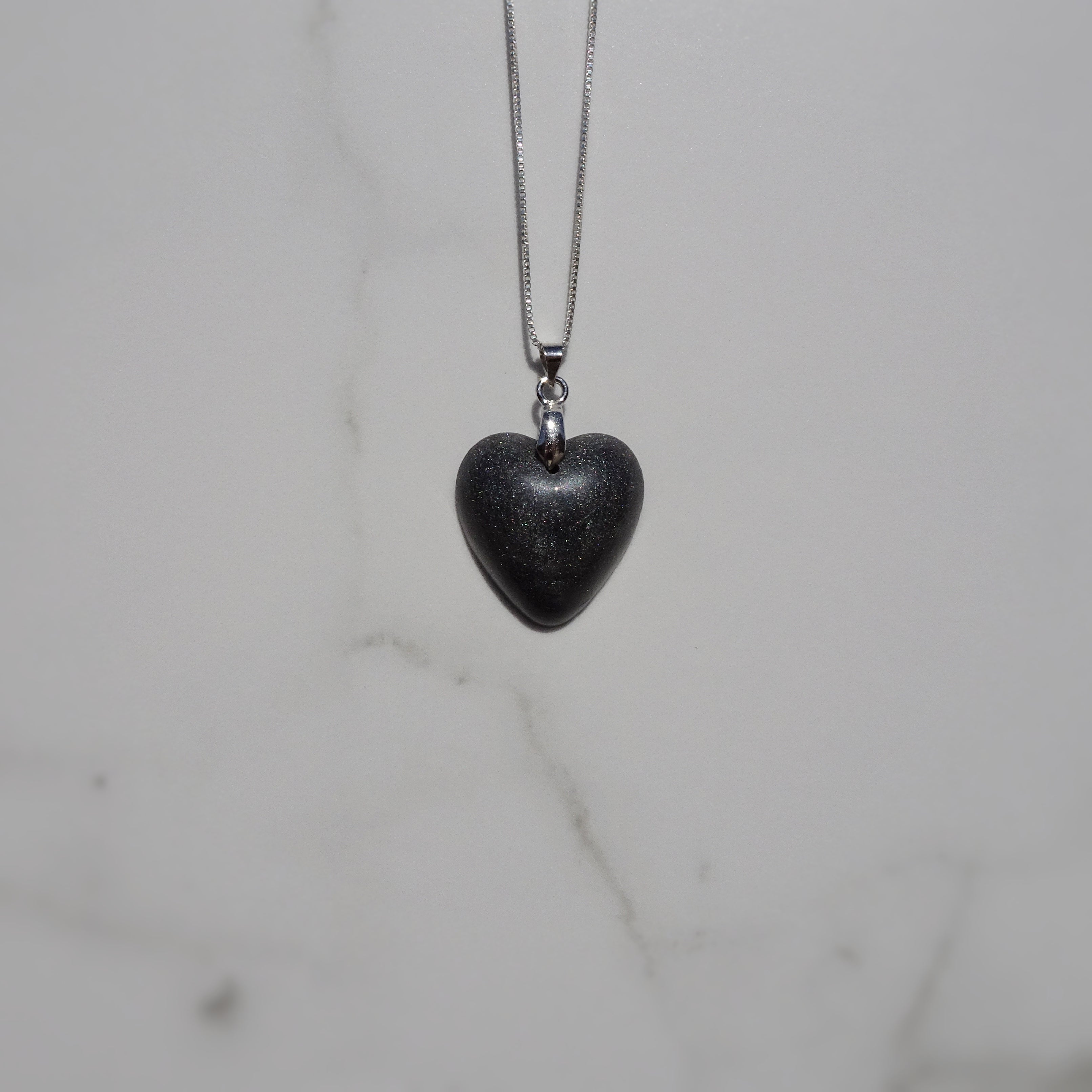 Gray Mica Acrylic Resin Heart Pendant - One of a Kind - Art and Soule