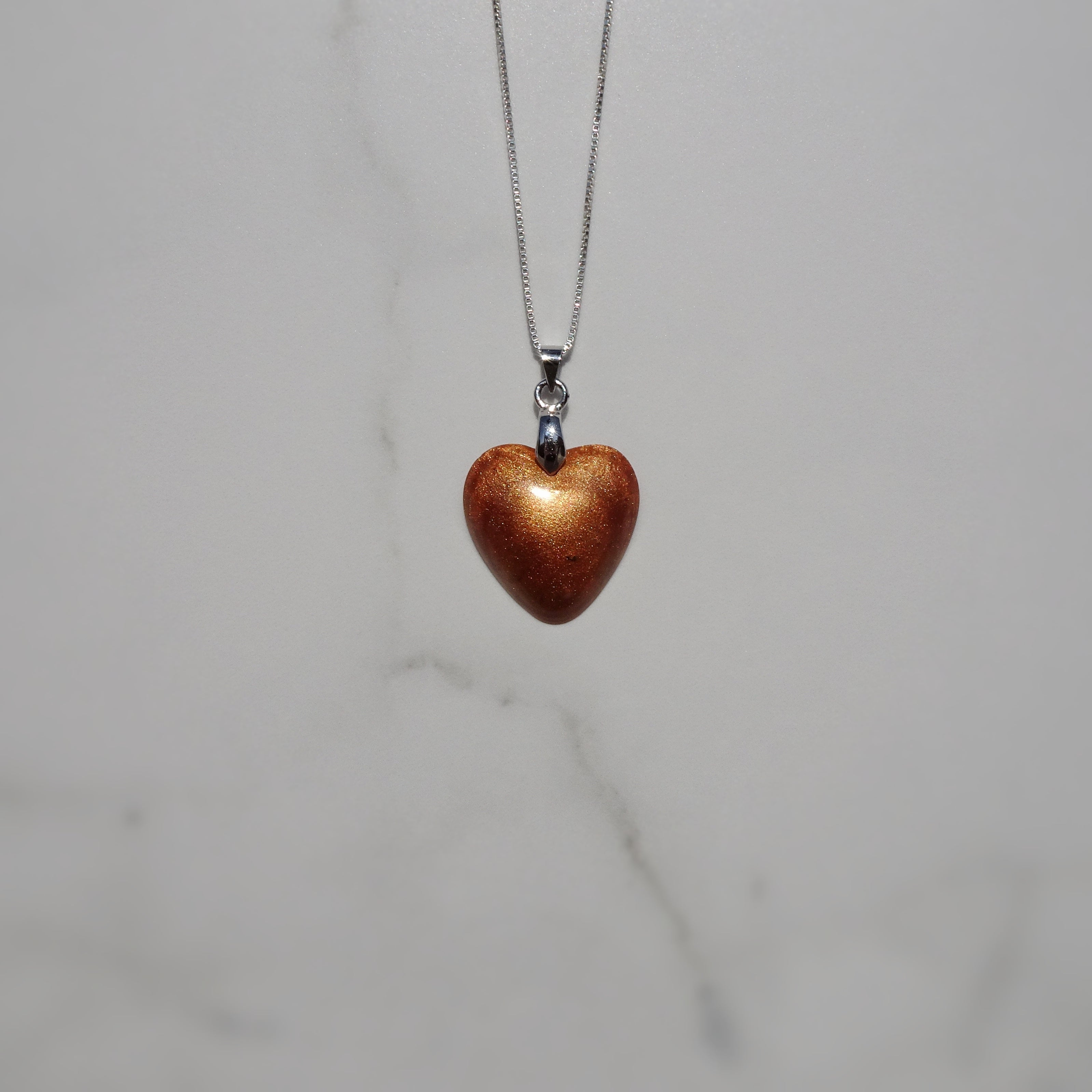Copper Pearl Acrylic Resin Heart Pendant - One of a Kind - Art and Soule