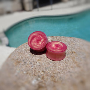 Pink Gold Duochrome Resin Double Flared Ear Plugs or Tunnels or Treadrops - Ear Gauges - Art and Soule