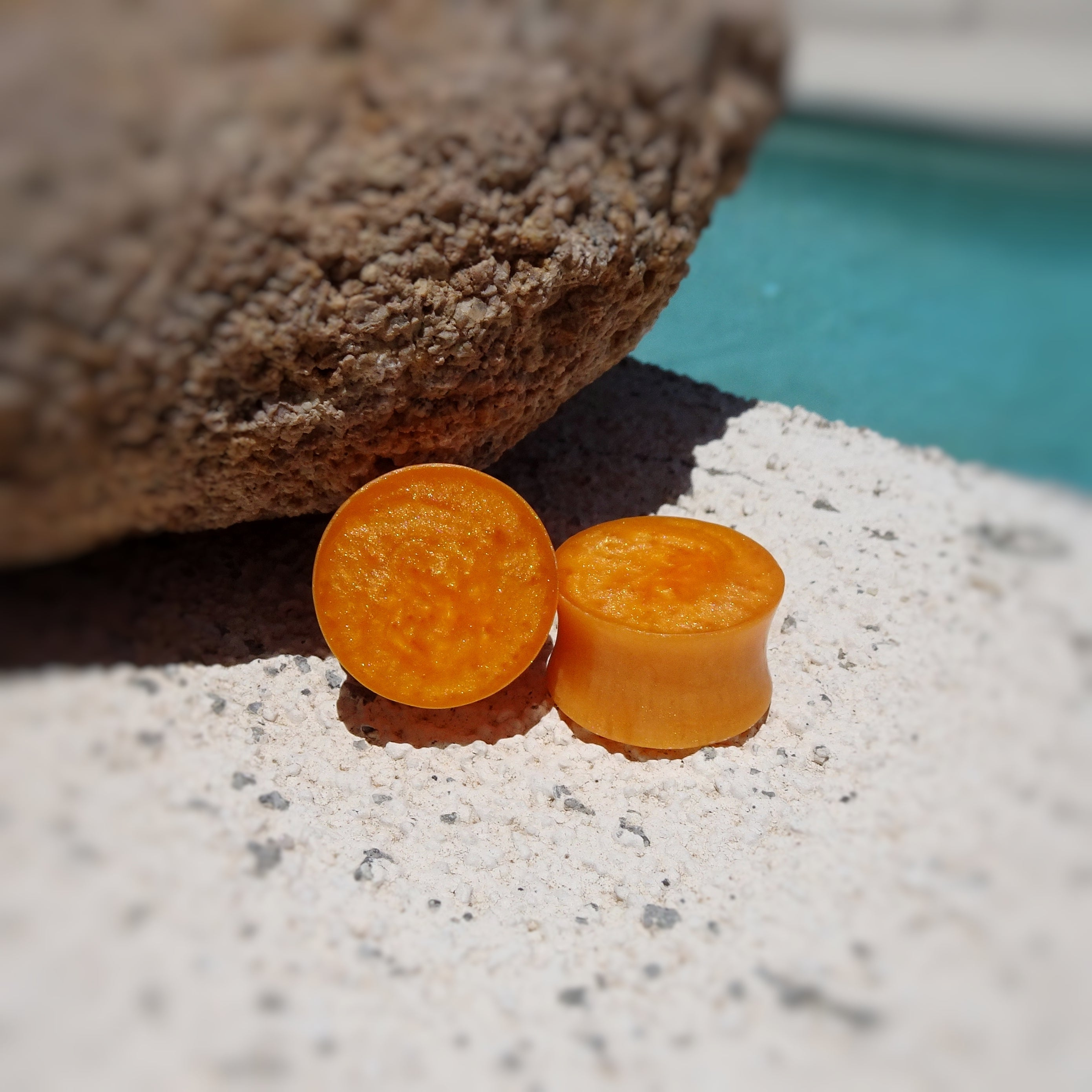 Pumpkin Orange Pearl Resin Double Flared Ear Plugs or Tunnels or Teardrops - Ear Gauges - Art and Soule