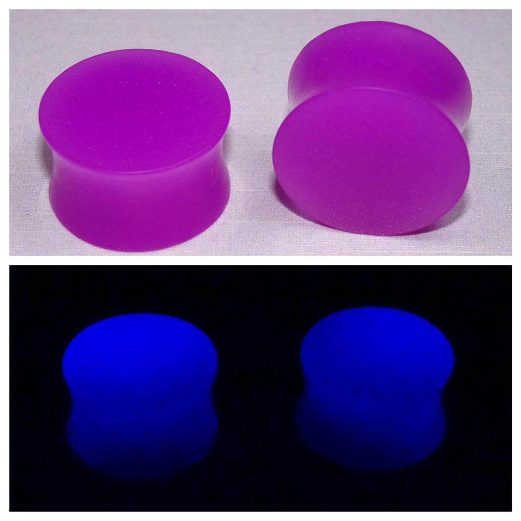 Fluorescent Purple Glow In The Dark Ear Plugs or Tunnels or Teardrops - Ear Gauges - Art and Soule