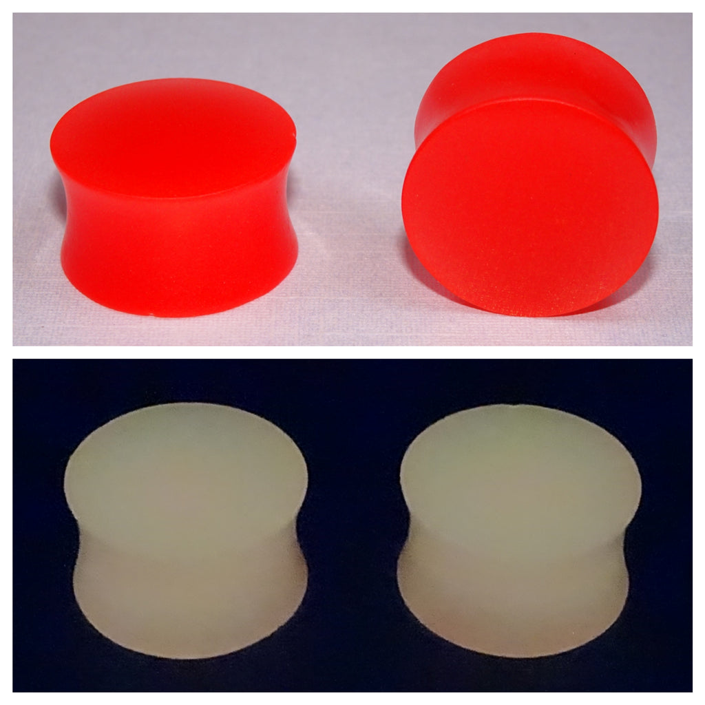 Fluorescent Red Glow In The Dark Ear Plugs or Tunnels or Teardrops - Ear Gauges - Art and Soule