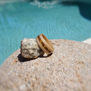 Red Gum Bentwood Wood Ring With Tiger's Eye Inlay - Art and Soule