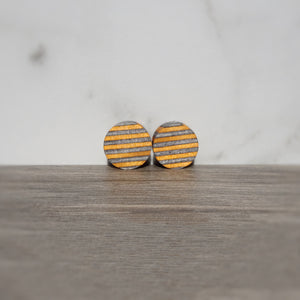 Onyx Black Orange Spectraply Wood Double Flared Ear Plugs - Ear Gauges - Art and Soule