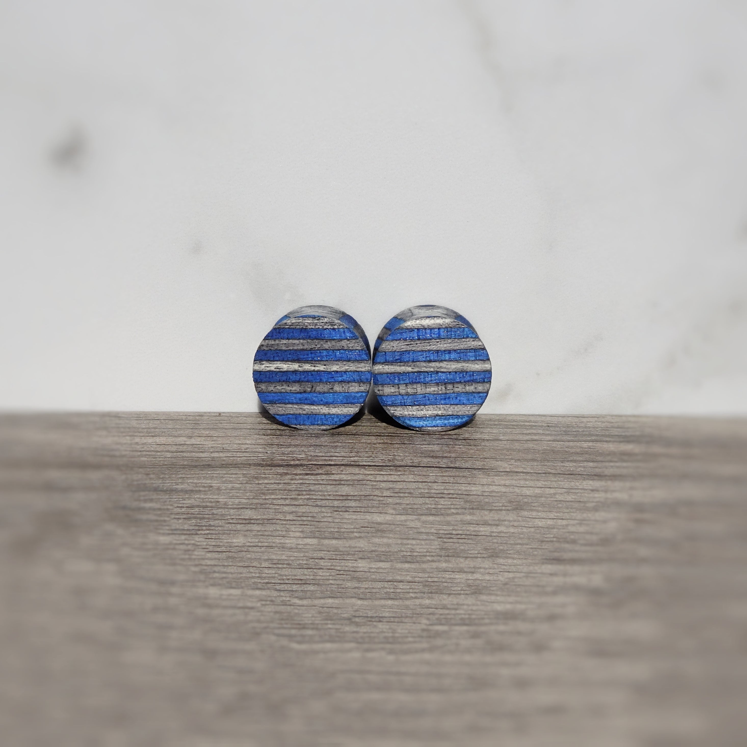 Blue Charcoal Gray Spectraply Wood Double Flared Ear Plugs - Ear Gauges - Art and Soule