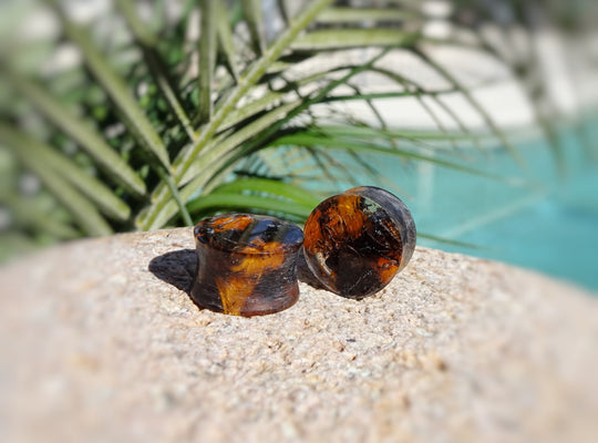 Spectraply Charcoal Brown Orange Wood and Resin Double Flared Ear Plugs or Tunnels or Teardrops - Ear Gauges - Art and Soule