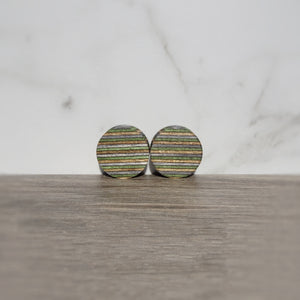 Natural Charcoal Gray Olive Spectraply Wood Double Flared Ear Plugs - Ear Gauges - Art and Soule