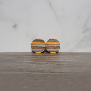 Charcoal Brown Orange Spectraply Wood Double Flared Ear Plugs - Ear Gauges - Art and Soule