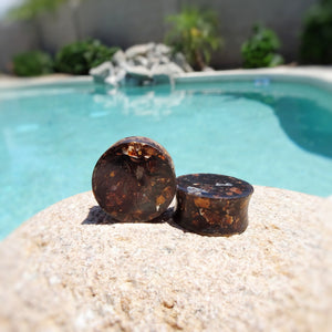 Tea Stained Metal Flake Resin Double Flared Ear Plugs or Tunnels or Teardrops - Ear Gauges - Art and Soule
