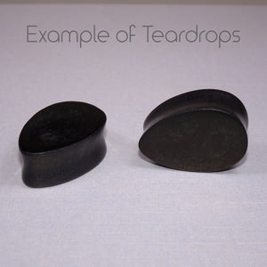 Faux Stone Resin Double Flared Ear Plugs or Tunnels or Teardrops - Ear Gauges - Art and Soule