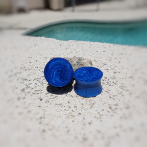 Royal Blue Pearl Resin Double Flared Ear Plugs or Tunnels or Teardrops - Ear Gauges - Art and Soule