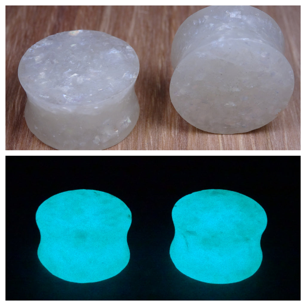 White Holographic Glow in the Dark Glitter and Resin Ear Plugs or Tunnels or Teardrops - Ear Gauges - Art and Soule