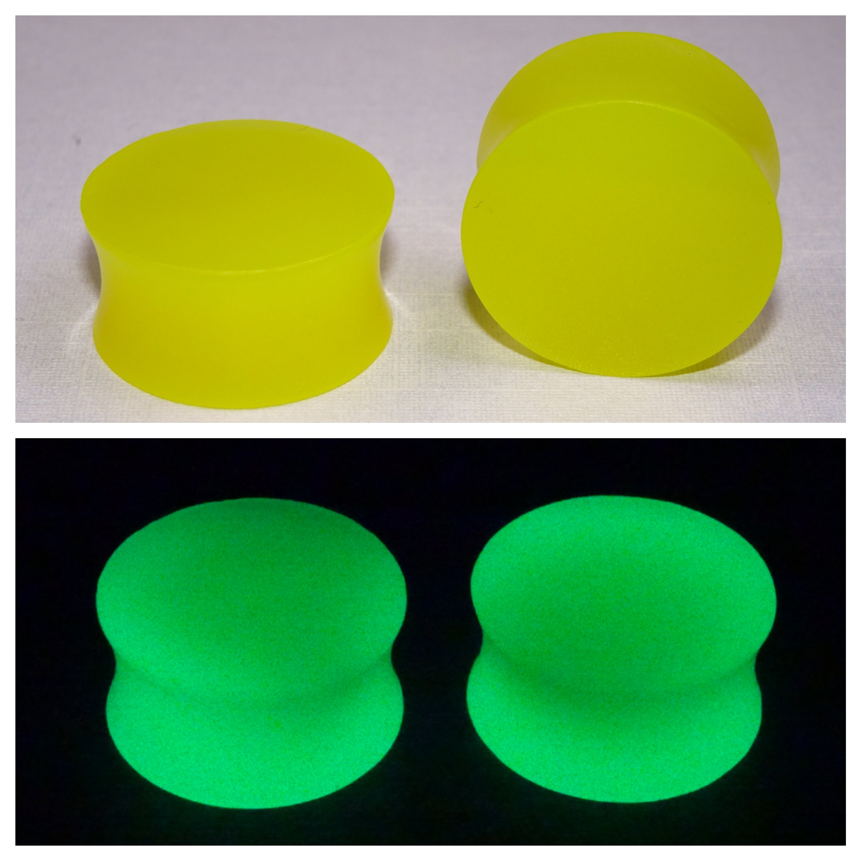 Fluorescent Yellow Glow In The Dark Ear Plugs or Tunnels or Teardrops - Ear Gauges - Art and Soule
