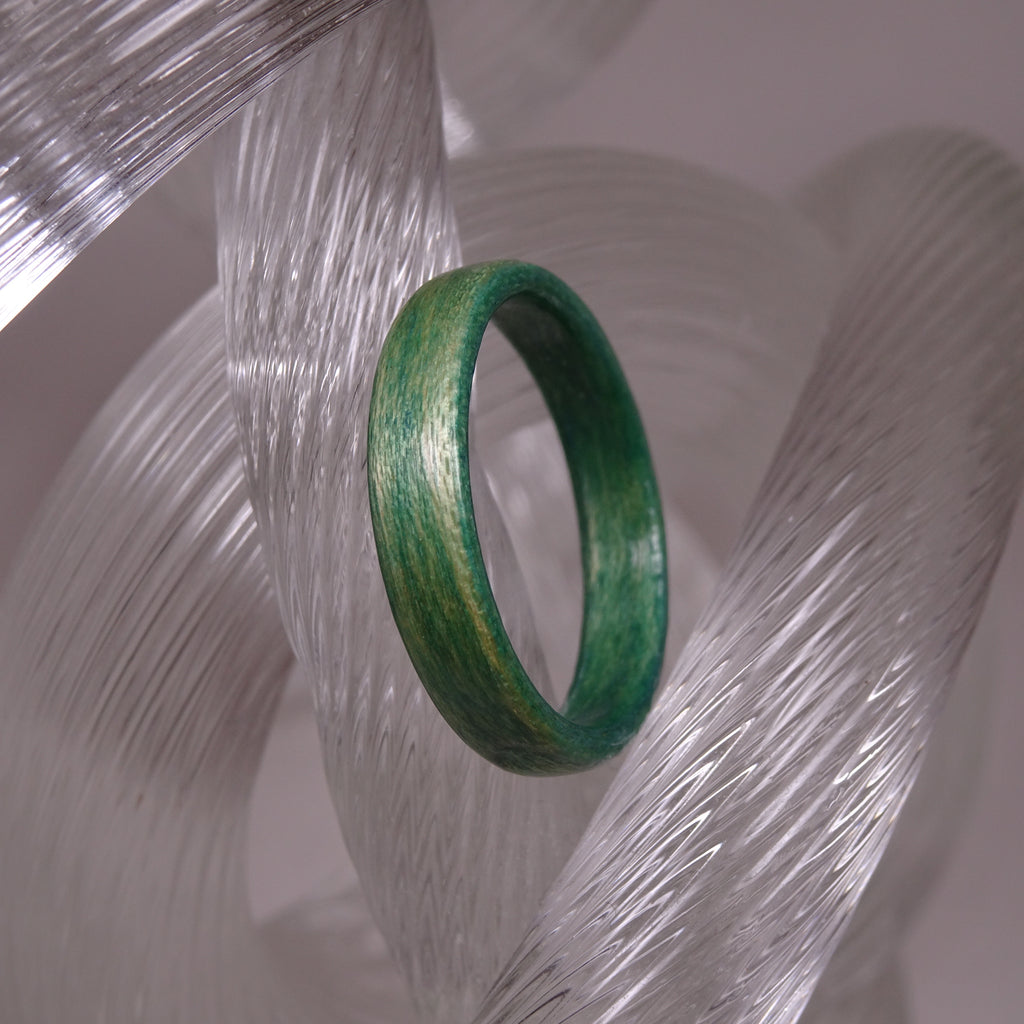 Dark Green Dyed Birch Bentwood Wood Ring - Size 9.25 - Clearance Ring - Art and Soule