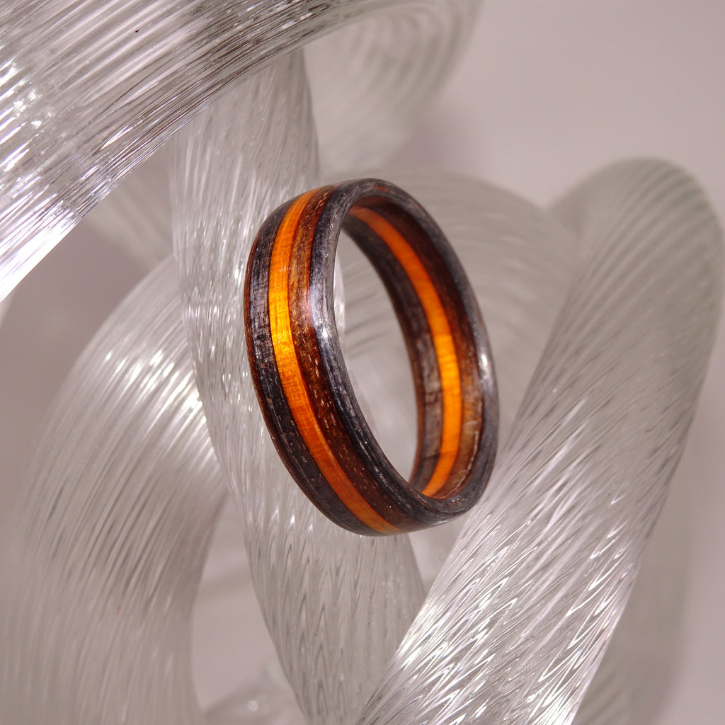 Spectraply Charcoal Brown Orange Bentwood Wood Ring - Size 10.5 - Clearance Ring - Art and Soule