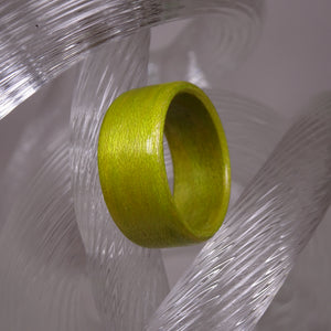 Lime Green Dyed Birch Bentwood Wood Ring - Size 8.75 - Clearance Ring - Art and Soule