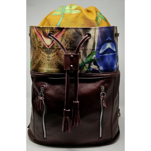 Handmade Encaustic Artisan Leather Burgundy Backpack - Ella Leather