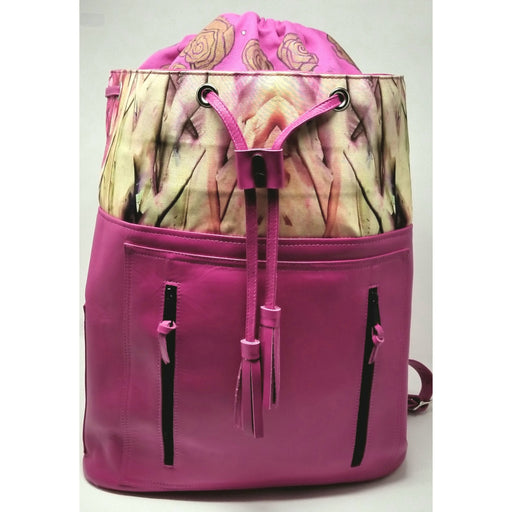 Handmade Encaustic Original Art Print Leather Backpack. - Ella Leather