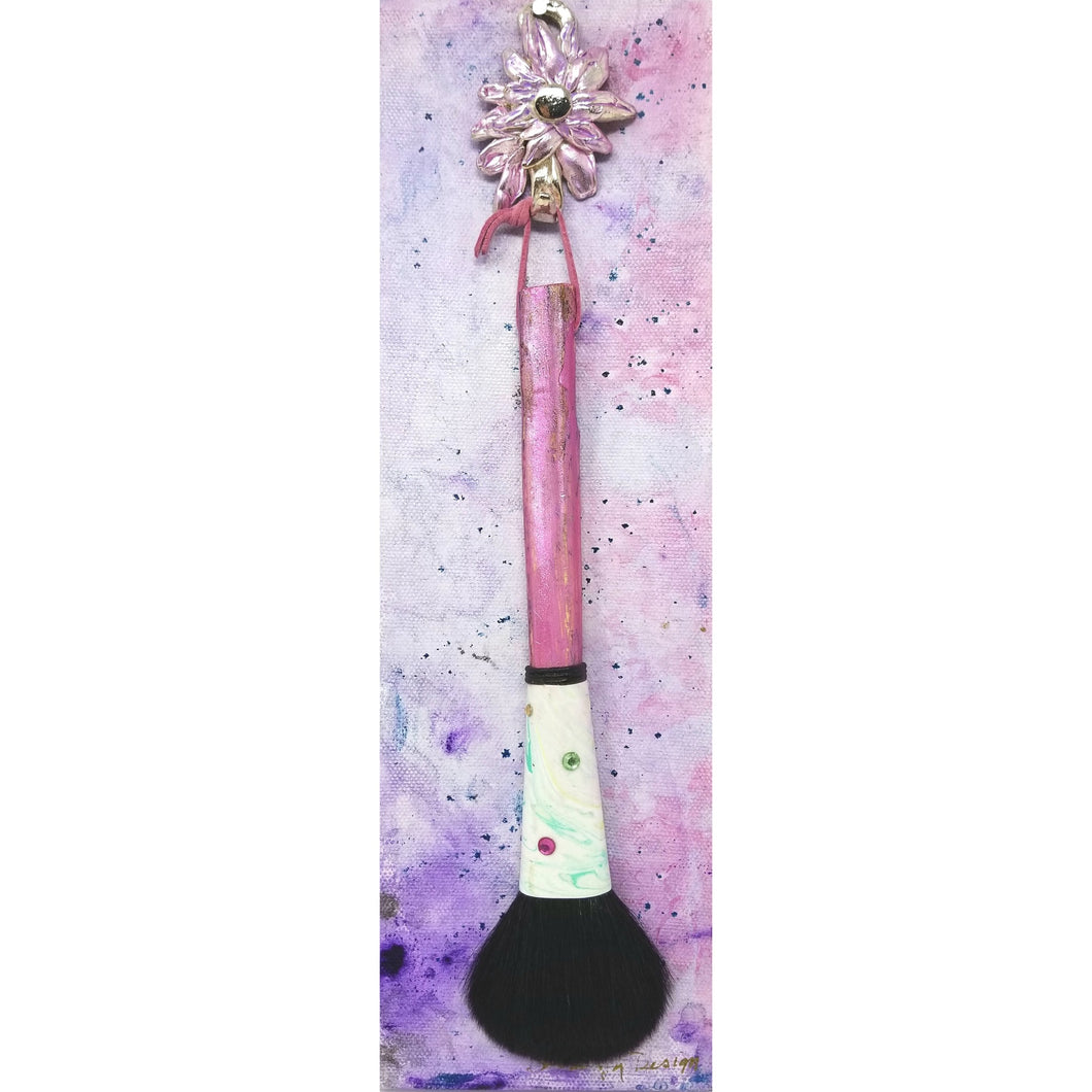 Pretty in Pink Makeup Blush Brush with Twiggy Handle and  Pewter Hook - Ella Leather