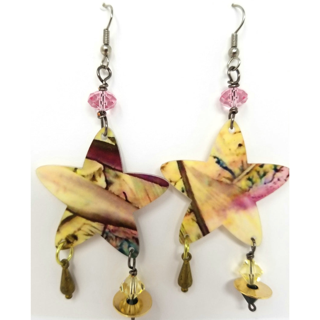 Star Encaustic Earrings - Ella Leather