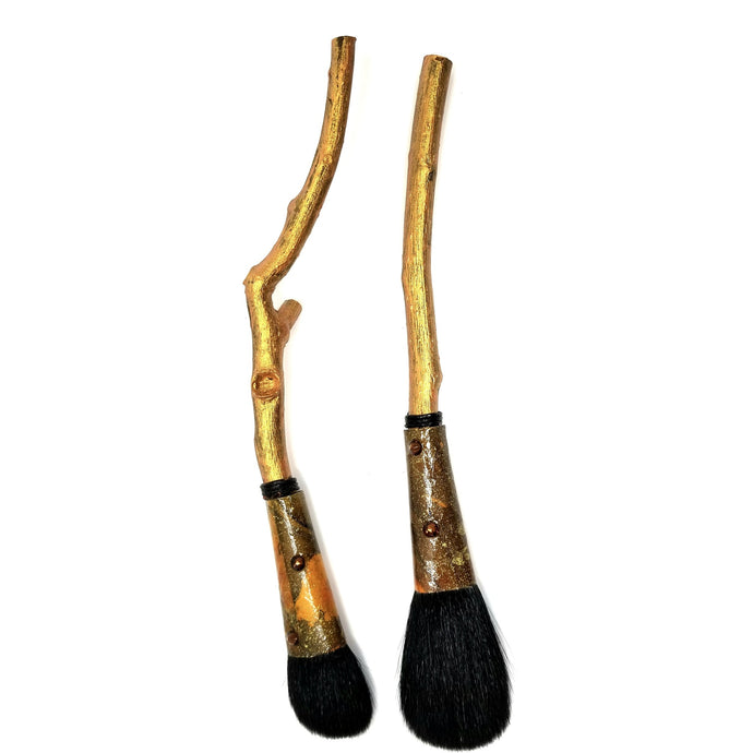 Twiggy  Gold Brushes Set of Two - Ella Leather