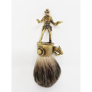 Wicked Bad Ass John Wayne Cowboy Badger Brush Brass - Ella Leather
