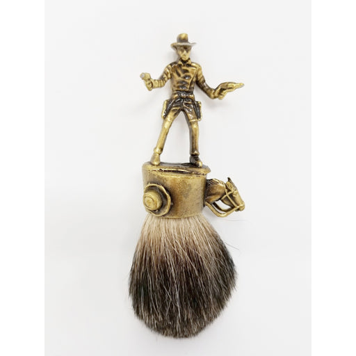 John Wayne Cowboy Badger Brush in Brass - Ella Leather