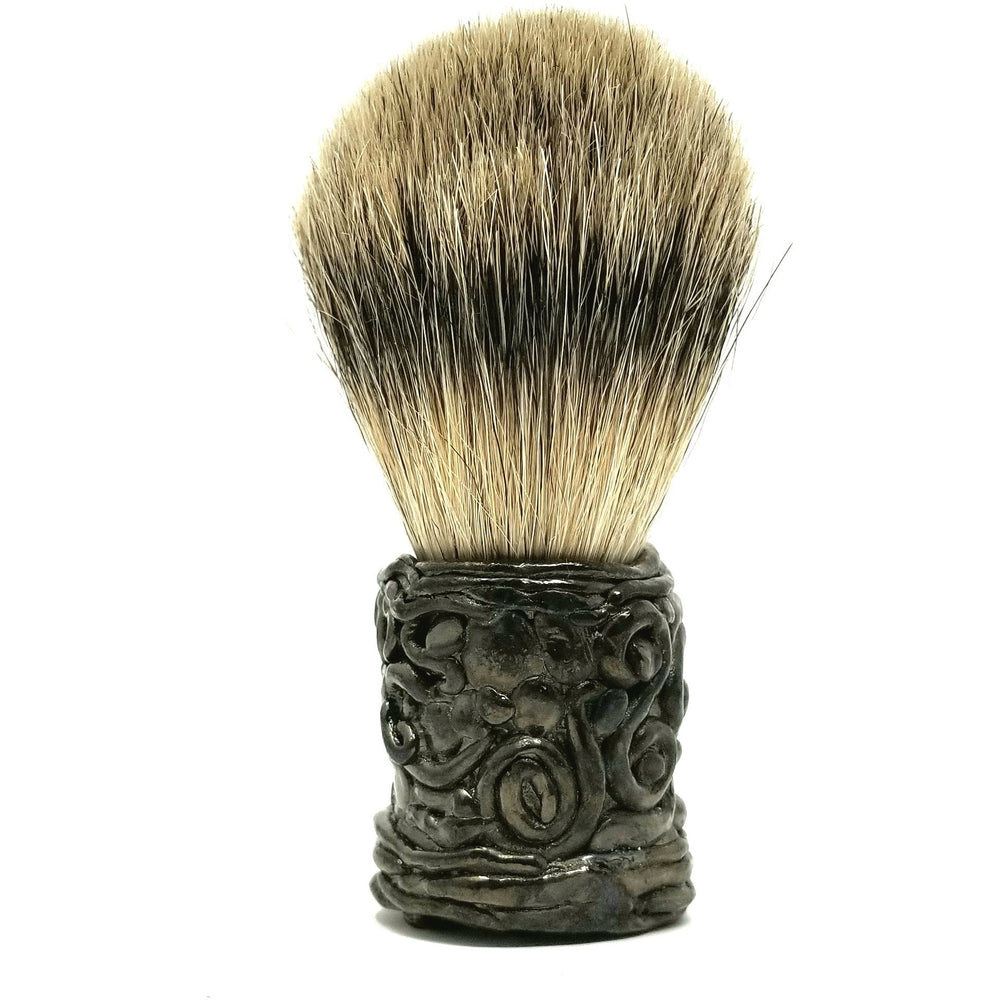 Hand Crafted Handle and Badger Brush - Ella Leather
