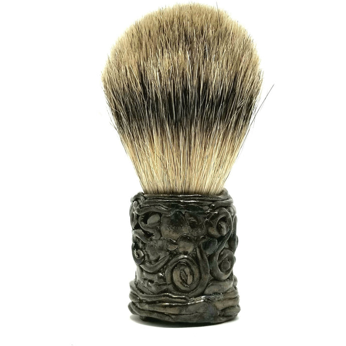 Wicked Bad Ass Hematite Shaving Free Form Badger Brush - Ella Leather