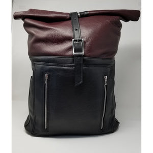 Artisan Handmade Leather Large Burgundy Backpack - Ella Leather