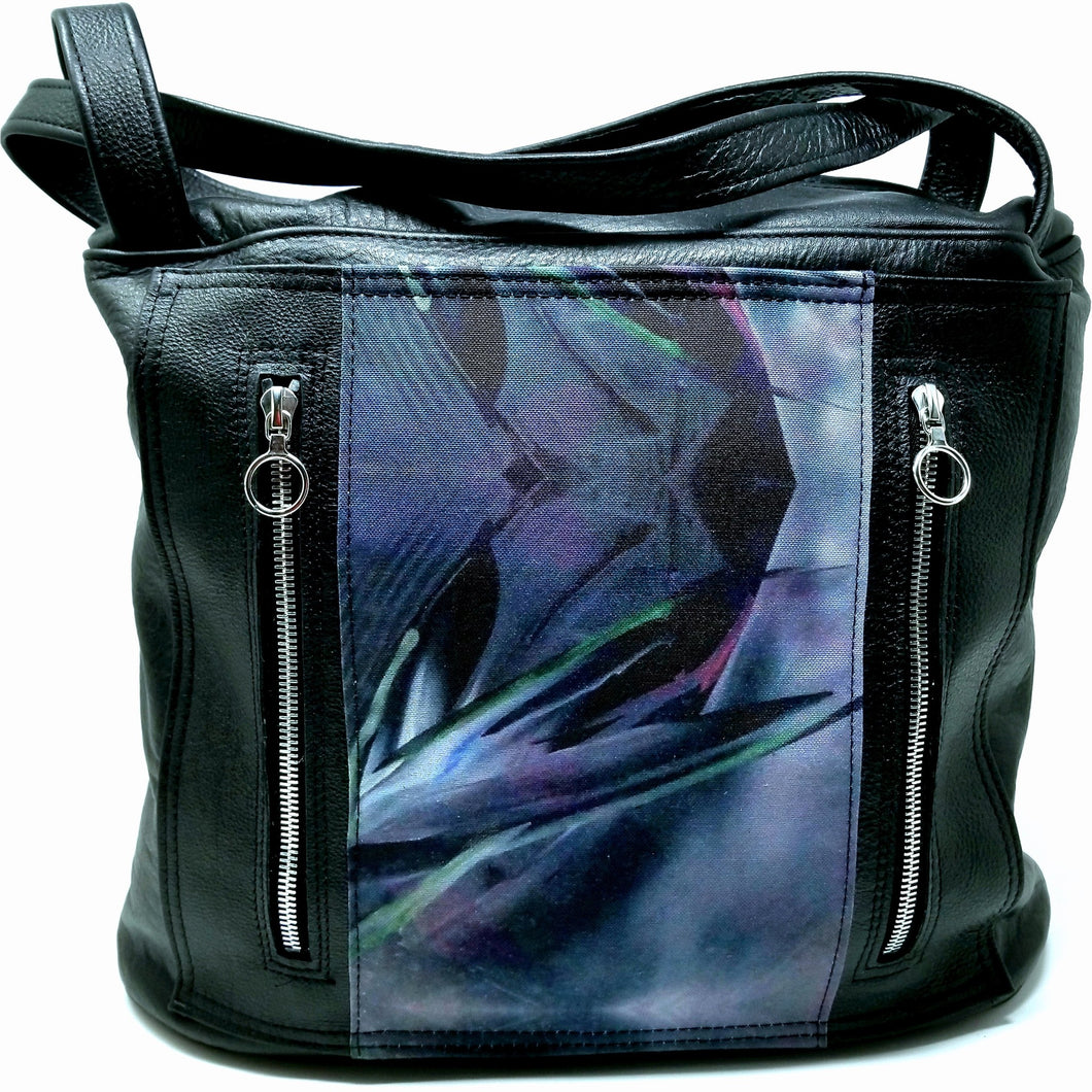 Handmade Leather Artisan Artwork  Black Purse or Computer Bag by Ella Leather - Ella Leather