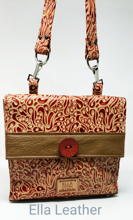Handmade Red and Tan Artisan Italian Leather Crossbody - Ella Leather