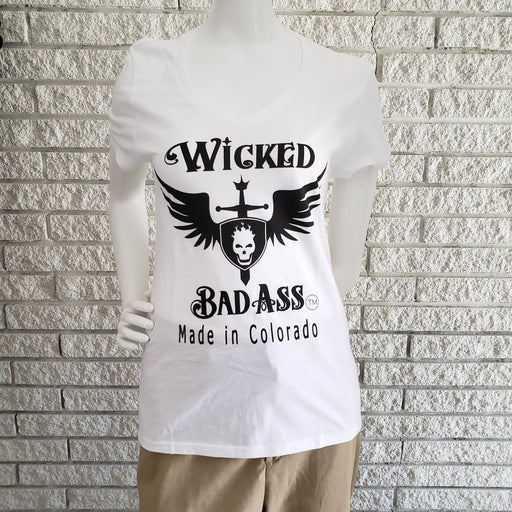 Wicked Bad Ass Womens V Neck T-Shirt - Ella Leather