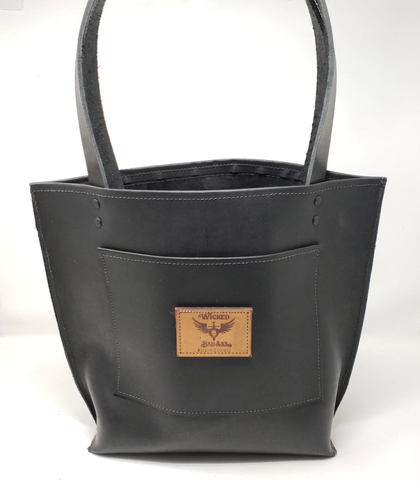 Denver Wicked Bad Ass Black Leather Tote - Ella Leather
