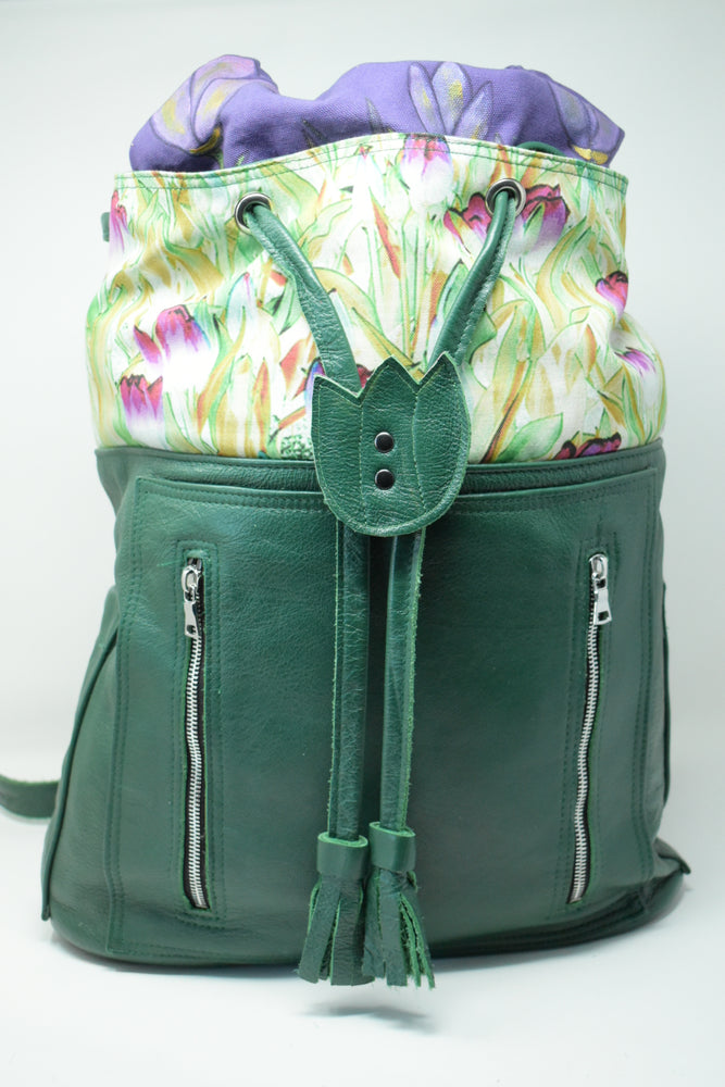 Green Artisan Leather Backpack, Spring Tulips in the City - Ella Leather