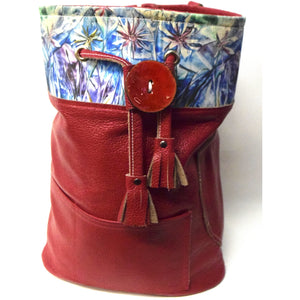 Red Leather Bucket Backpack -Bag with Encaustic Canvas Design - Ella Leather
