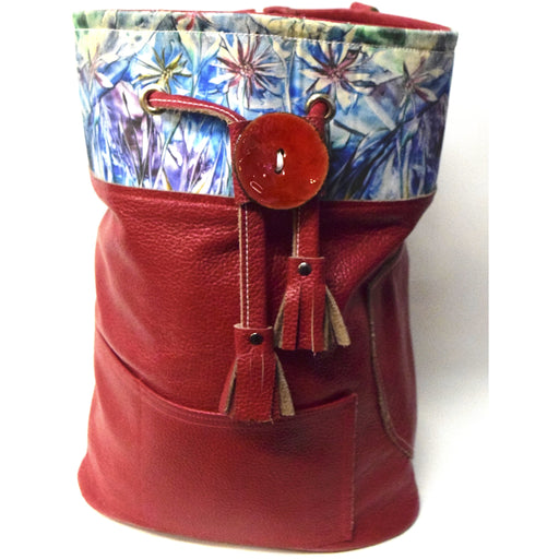Red Leather Bucket Backpack with Encaustic Canvas Design - Ella Leather