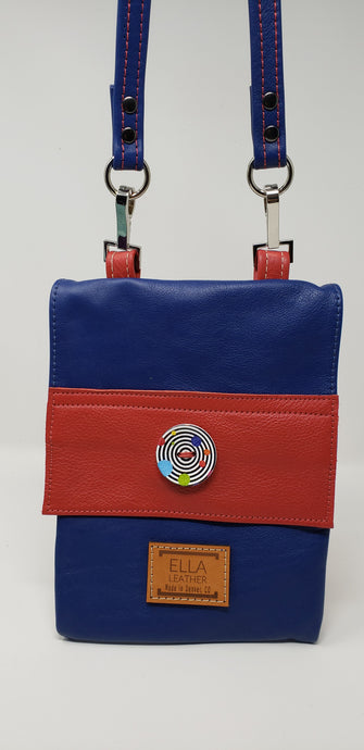 Ella Leather Crossbody Red and Blue Purse - Ella Leather