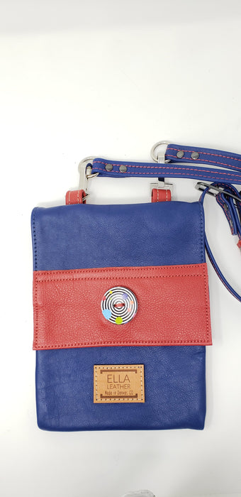 Ella Leather Red and Blue Crossbody Purse - Ella Leather