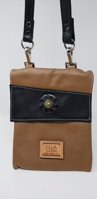 Ella Leather Tan Black Cross Body Bag - Ella Leather