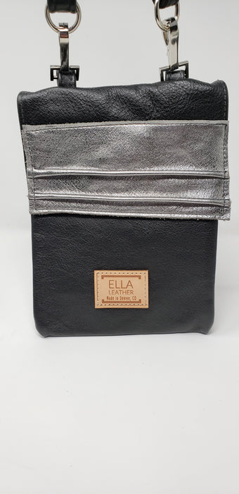 Artisan Leather Black and Grey Crossbody - Ella Leather