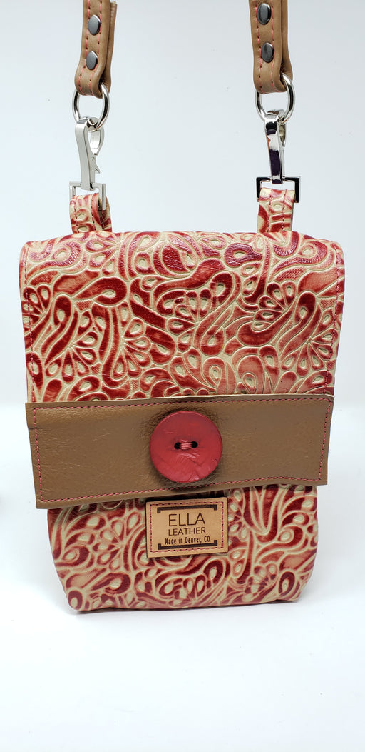 Artisan Leather Red and Tan Crossbody - Ella Leather