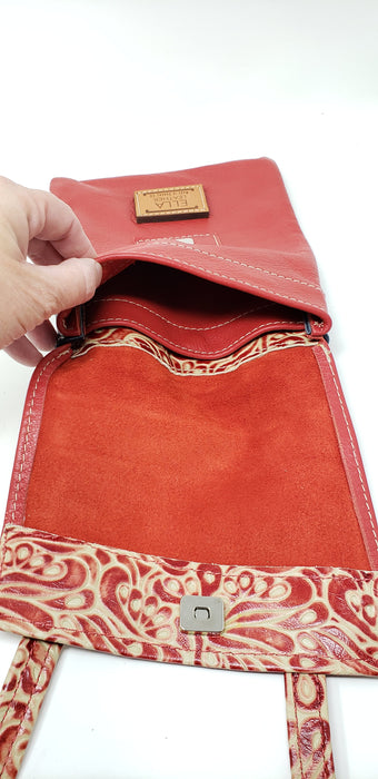 Artisan Leather Red Crossbody with a Splash of Tan - Ella Leather