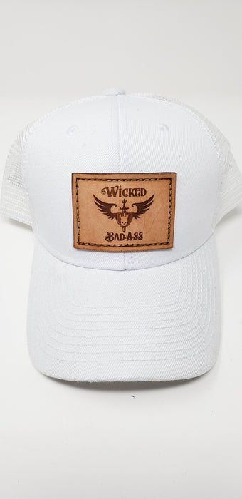 Wicked Bad Ass Trucker Hat in White - Ella Leather