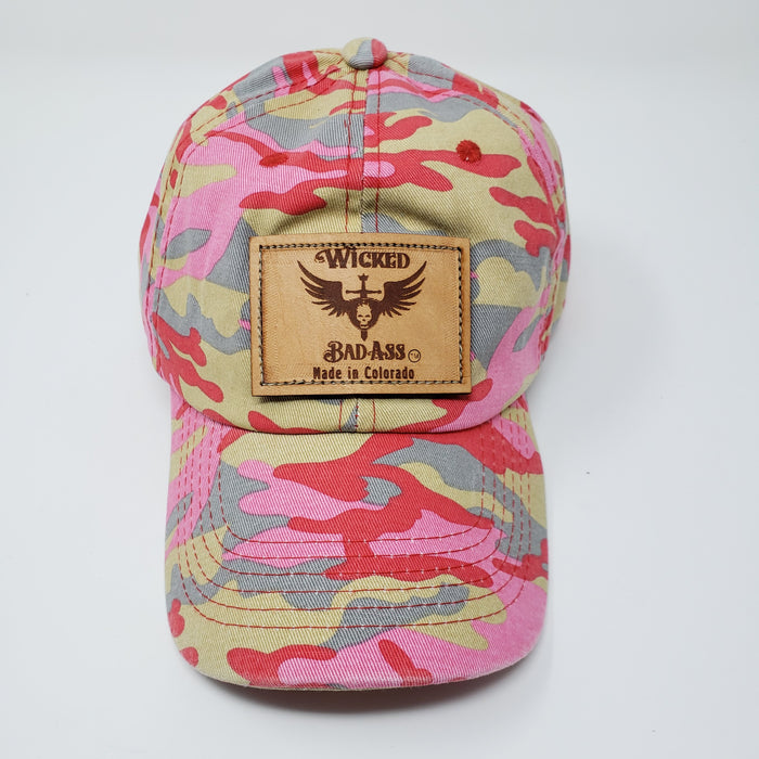 Wicked Bad Ass Camo Hat Pink and Red - Ella Leather