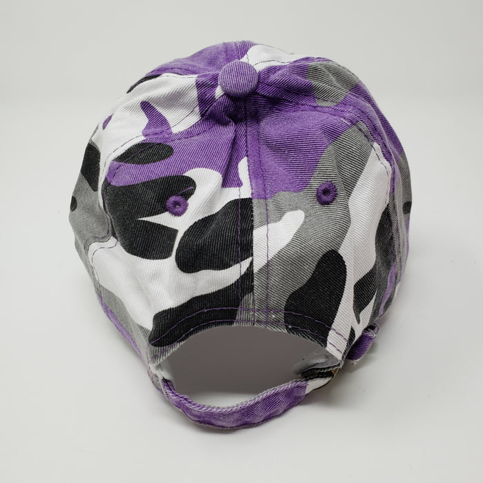 Wicked Bad Ass Camo Hat Purple , Black, Grey - Ella Leather