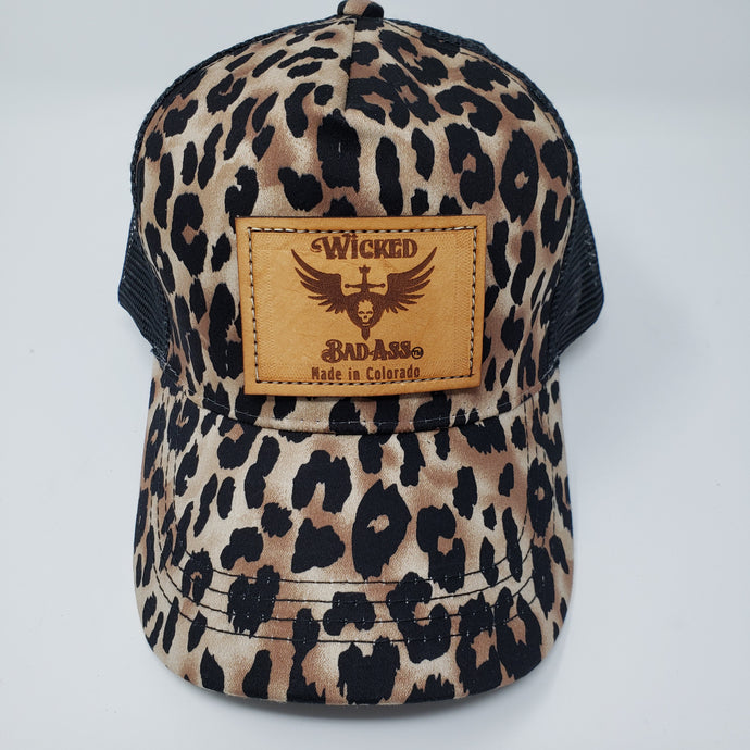 Wicked Bad Ass Mesh Trucker Hat Leopard - Ella Leather