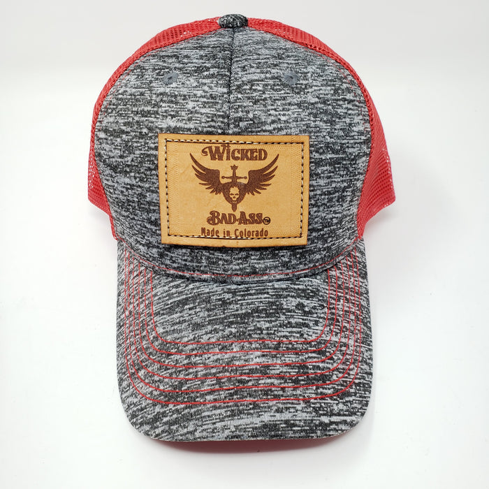 Mesh Trucker Hat in Red and Grey - Ella Leather